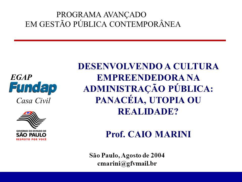 DESENVOLVENDO A CULTURA EMPREENDEDORA NA ADMINISTRAÇÃO PÚBLICA: PANACÉIA, UTOPIA OU REALIDADE? Prof. CAIO MARINI São Paulo, Agosto de 2004 cmarini@gfv