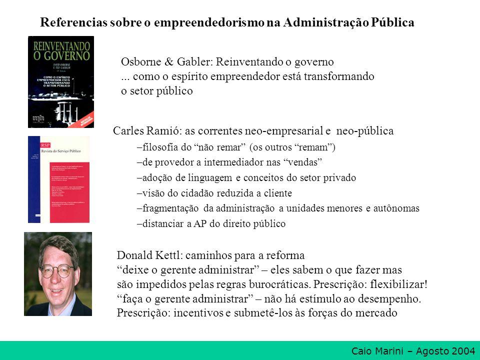 Osborne & Gabler: Reinventando o governo... como o espírito empreendedor está transformando o setor público Carles Ramió: as correntes neo-empresarial
