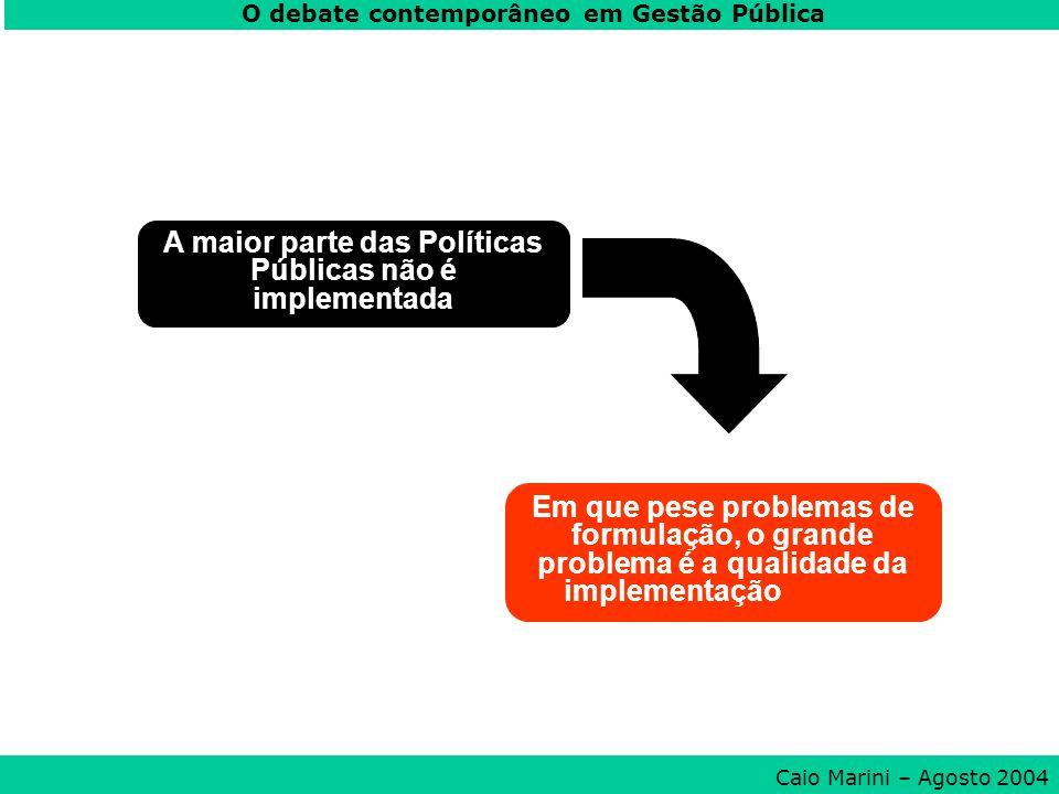 A maior parte das Políticas Públicas não é implementada Em que pese problemas de formulação, o grande problema é a qualidade da implementação O debate