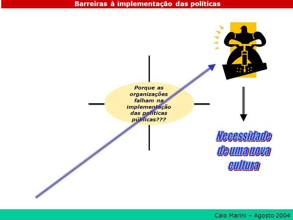 Porque as organizações falham na implementação das políticas públicas??? Barreiras à implementação das políticas Caio Marini – Agosto 2004