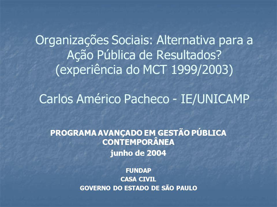 Organizações Sociais: Alternativa para a Ação Pública de Resultados.