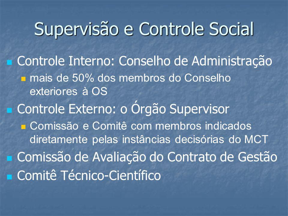 Supervisão e Controle Social Controle Interno: Conselho de Administração mais de 50% dos membros do Conselho exteriores à OS Controle Externo: o Órgão Supervisor Comissão e Comitê com membros indicados diretamente pelas instâncias decisórias do MCT Comissão de Avaliação do Contrato de Gestão Comitê Técnico-Científico