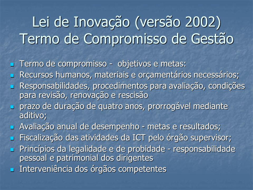 Lei de Inovação (versão 2002) Termo de Compromisso de Gestão Termo de compromisso - objetivos e metas: Termo de compromisso - objetivos e metas: Recursos humanos, materiais e orçamentários necessários; Recursos humanos, materiais e orçamentários necessários; Responsabilidades, procedimentos para avaliação, condições para revisão, renovação e rescisão Responsabilidades, procedimentos para avaliação, condições para revisão, renovação e rescisão prazo de duração de quatro anos, prorrogável mediante aditivo; prazo de duração de quatro anos, prorrogável mediante aditivo; Avaliação anual de desempenho - metas e resultados; Avaliação anual de desempenho - metas e resultados; Fiscalização das atividades da ICT pelo órgão supervisor; Fiscalização das atividades da ICT pelo órgão supervisor; Princípios da legalidade e de probidade - responsabilidade pessoal e patrimonial dos dirigentes Princípios da legalidade e de probidade - responsabilidade pessoal e patrimonial dos dirigentes Interveniência dos órgãos competentes Interveniência dos órgãos competentes