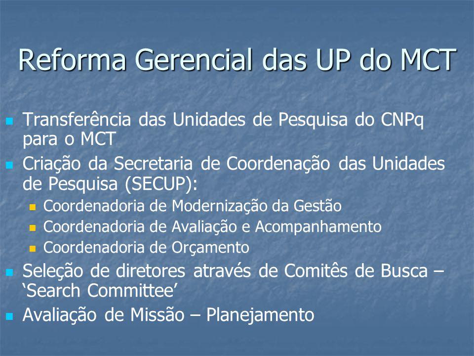 Reforma Gerencial das UP do MCT Transferência das Unidades de Pesquisa do CNPq para o MCT Criação da Secretaria de Coordenação das Unidades de Pesquisa (SECUP): Coordenadoria de Modernização da Gestão Coordenadoria de Avaliação e Acompanhamento Coordenadoria de Orçamento Seleção de diretores através de Comitês de Busca –Search Committee Avaliação de Missão – Planejamento
