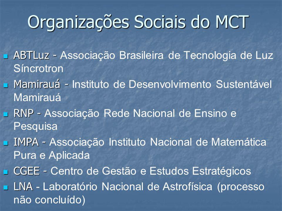 Organizações Sociais do MCT ABTLuz - ABTLuz - Associação Brasileira de Tecnologia de Luz Síncrotron Mamirauá - Mamirauá - Instituto de Desenvolvimento Sustentável Mamirauá RNP - RNP - Associação Rede Nacional de Ensino e Pesquisa IMPA - IMPA - Associação Instituto Nacional de Matemática Pura e Aplicada CGEE - CGEE - Centro de Gestão e Estudos Estratégicos LNA LNA - Laboratório Nacional de Astrofísica (processo não concluído)