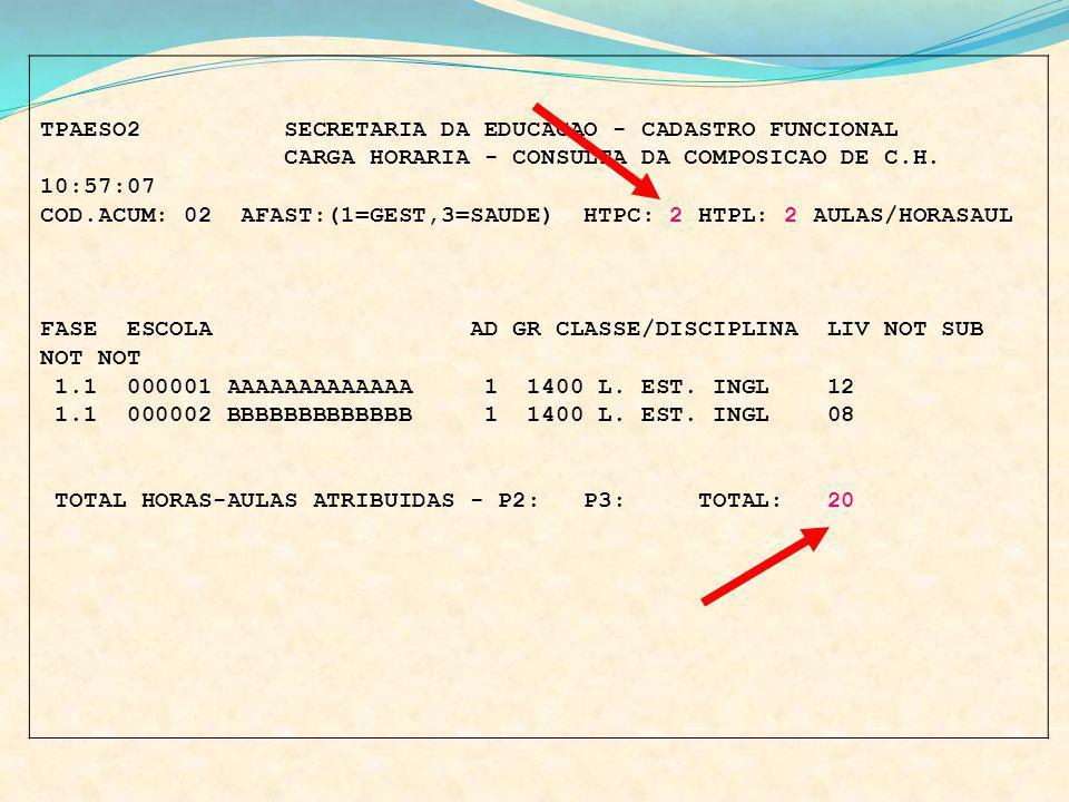 TPAESO2 SECRETARIA DA EDUCACAO - CADASTRO FUNCIONAL CARGA HORARIA - CONSULTA DA COMPOSICAO DE C.H. 10:57:07 COD.ACUM: 02 AFAST:(1=GEST,3=SAUDE) HTPC: