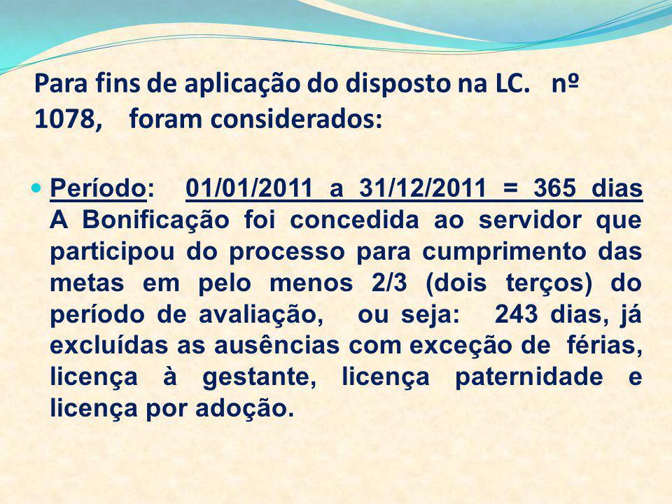 Para fins de aplicação do disposto na LC. nº 1078, foram considerados: Período: 01/01/2011 a 31/12/2011 = 365 dias A Bonificação foi concedida ao serv