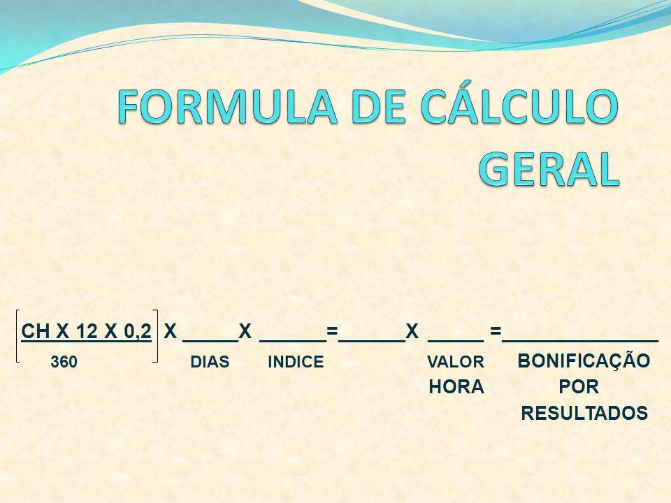 CH X 12 X 0,2 X _____X ______=______X _____ =______________ 360 DIAS INDICE VALOR BONIFICAÇÃO POR RESULTADOS HORA