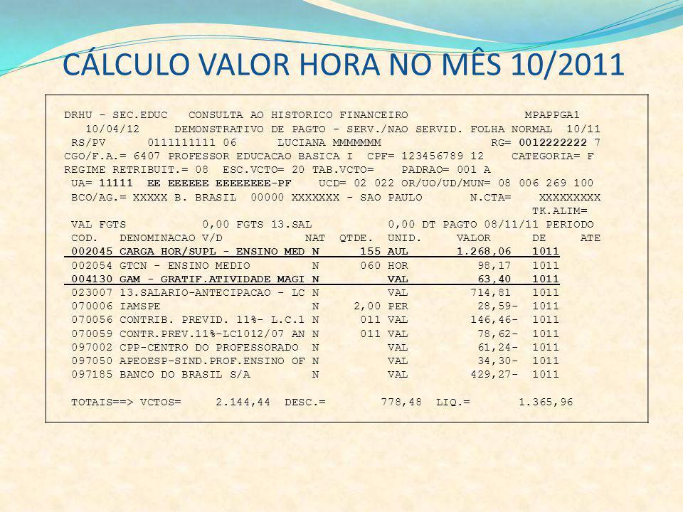 DRHU - SEC.EDUC CONSULTA AO HISTORICO FINANCEIRO MPAPPGA1 10/04/12 DEMONSTRATIVO DE PAGTO - SERV./NAO SERVID. FOLHA NORMAL 10/11 RS/PV 0111111111 06 L