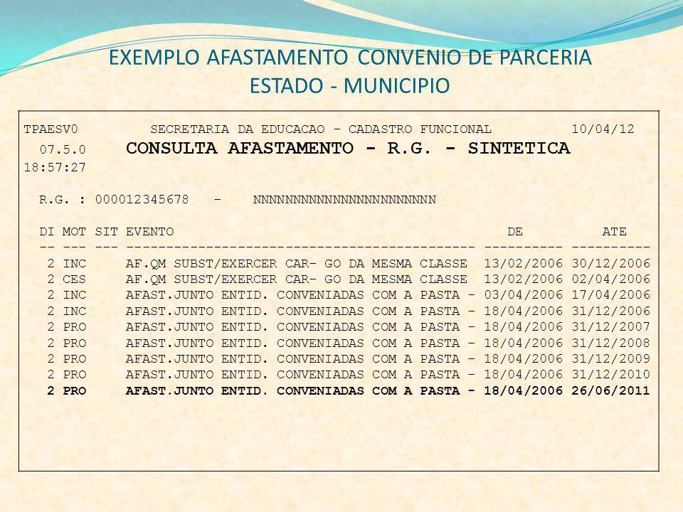 EXEMPLO AFASTAMENTO CONVENIO DE PARCERIA ESTADO - MUNICIPIO TPAESV0 SECRETARIA DA EDUCACAO - CADASTRO FUNCIONAL 10/04/12 07.5.0 CONSULTA AFASTAMENTO -