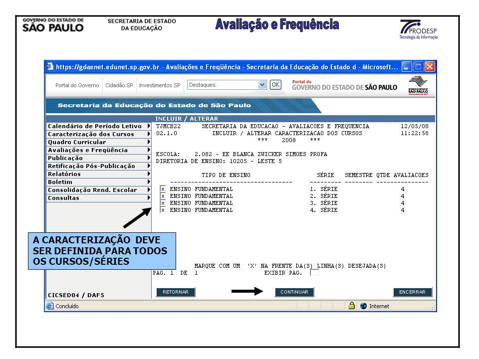 A CARACTERIZAÇÃO DEVE SER DEFINIDA PARA TODOS OS CURSOS/SÉRIES