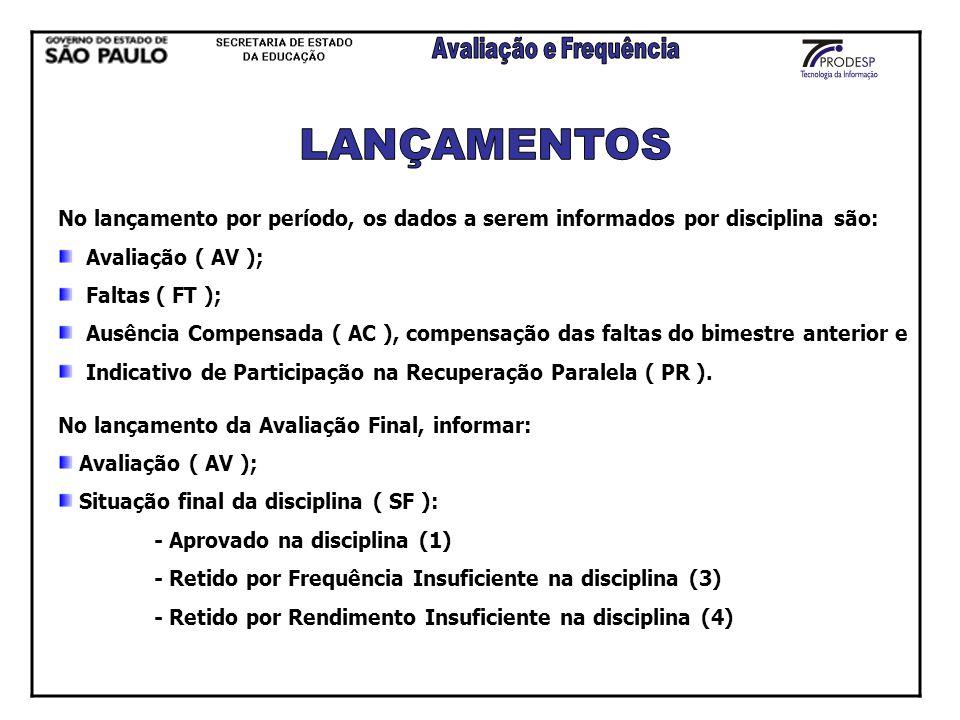 No lançamento por período, os dados a serem informados por disciplina são: Avaliação ( AV ); Faltas ( FT ); Ausência Compensada ( AC ), compensação da