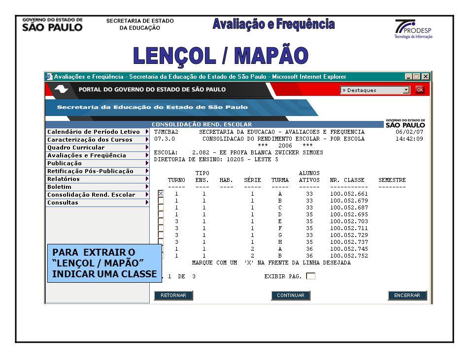 PARA EXTRAIR O LENÇOL / MAPÃO INDICAR UMA CLASSE