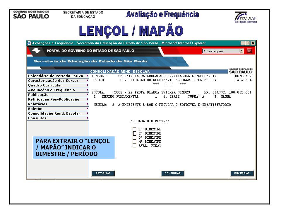 PARA EXTRAIR O LENÇOL / MAPÃO INDICAR O BIMESTRE / PERÍODO