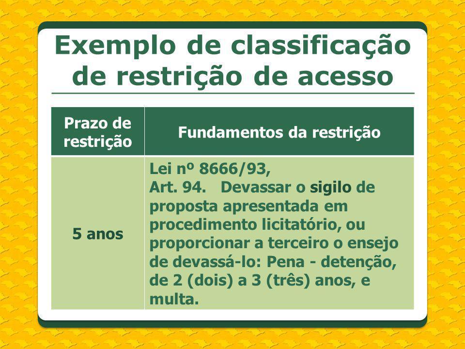 Exemplo de classificação de restrição de acesso Prazo de restrição Fundamentos da restrição 5 anos Lei nº 8666/93, Art. 94. Devassar o sigilo de propo