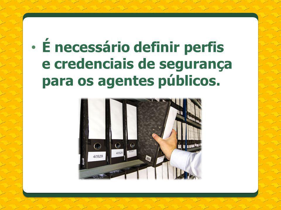 É necessário definir perfis e credenciais de segurança para os agentes públicos.