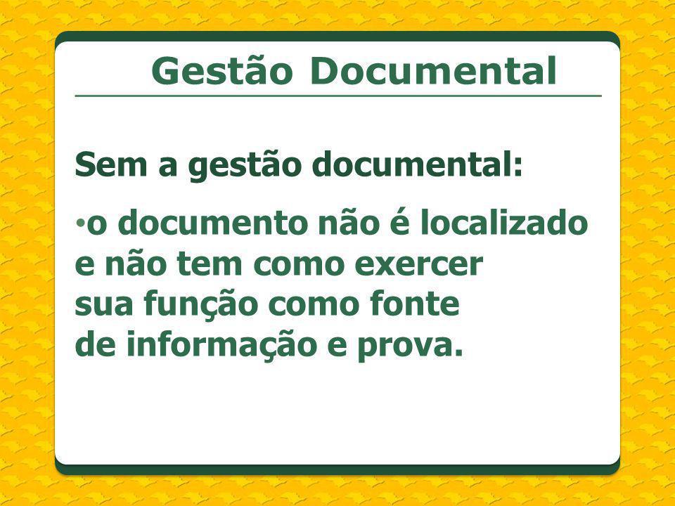 Gestão Documental Sem a gestão documental: o documento não é localizado e não tem como exercer sua função como fonte de informação e prova.