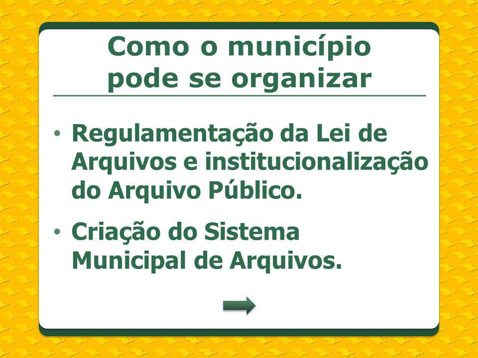 Regulamentação da Lei de Arquivos e institucionalização do Arquivo Público. Criação do Sistema Municipal de Arquivos. Como o município pode se organiz