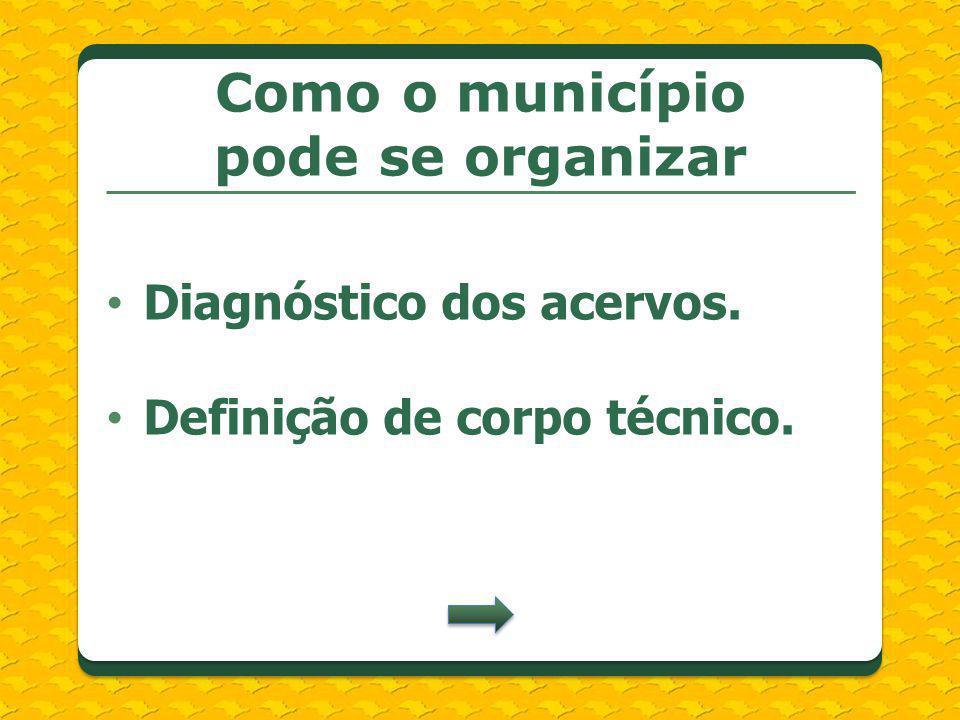Diagnóstico dos acervos. Definição de corpo técnico. Como o município pode se organizar