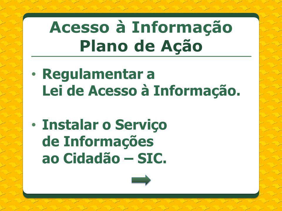 Regulamentar a Lei de Acesso à Informação. Instalar o Serviço de Informações ao Cidadão – SIC. Acesso à Informação Plano de Ação