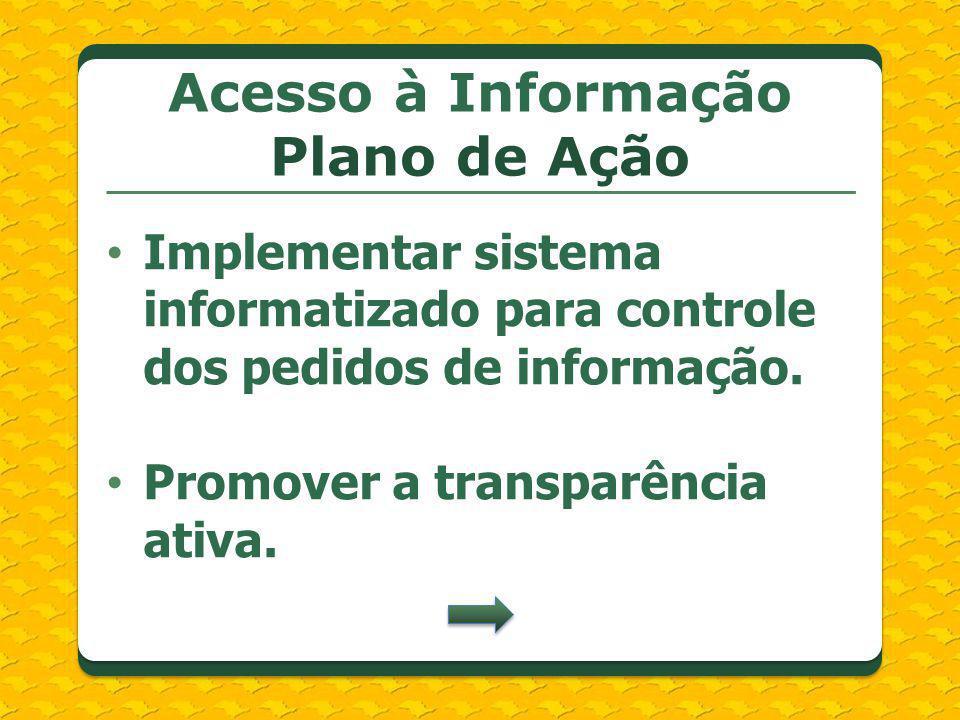 Implementar sistema informatizado para controle dos pedidos de informação. Promover a transparência ativa. Acesso à Informação Plano de Ação