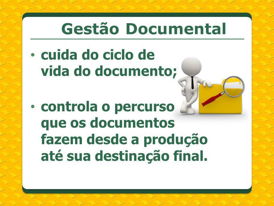 Gestão Documental cuida do ciclo de vida do documento; controla o percurso que os documentos fazem desde a produção até sua destinação final.