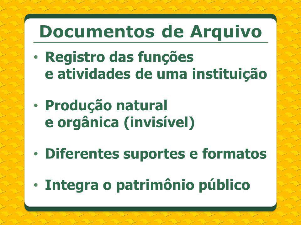 Documentos de Arquivo Registro das funções e atividades de uma instituição Produção natural e orgânica (invisível) Diferentes suportes e formatos Inte