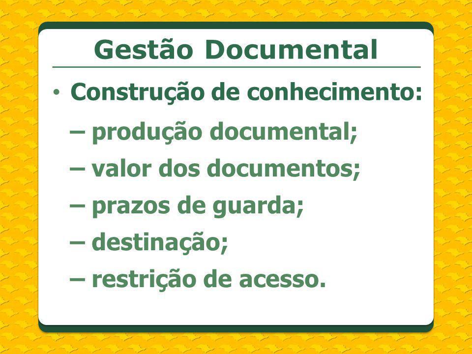Construção de conhecimento: – produção documental; – valor dos documentos; – prazos de guarda; – destinação; – restrição de acesso. Gestão Documental