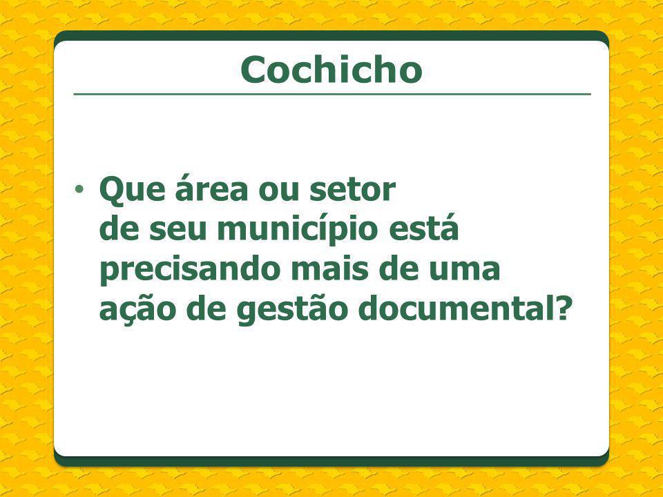 Que área ou setor de seu município está precisando mais de uma ação de gestão documental? Cochicho