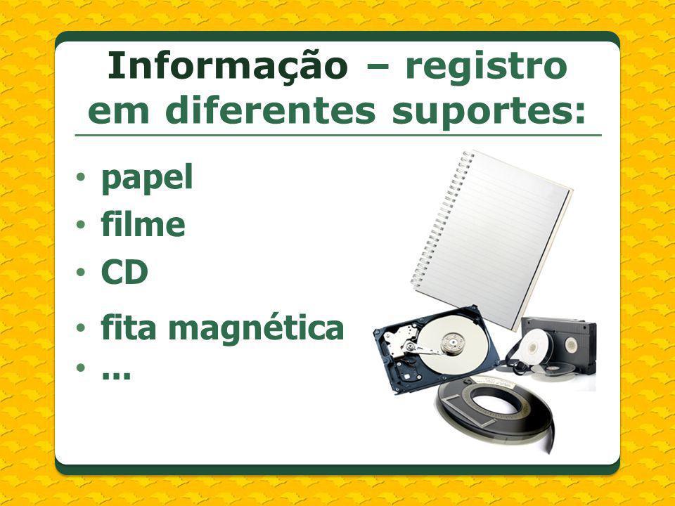 Informação – registro em diferentes suportes: papel filme CD fita magnética...