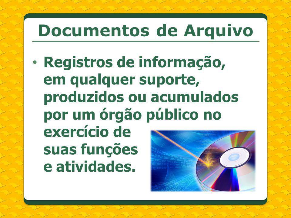 Documentos de Arquivo Registros de informação, em qualquer suporte, produzidos ou acumulados por um órgão público no exercício de suas funções e ativi