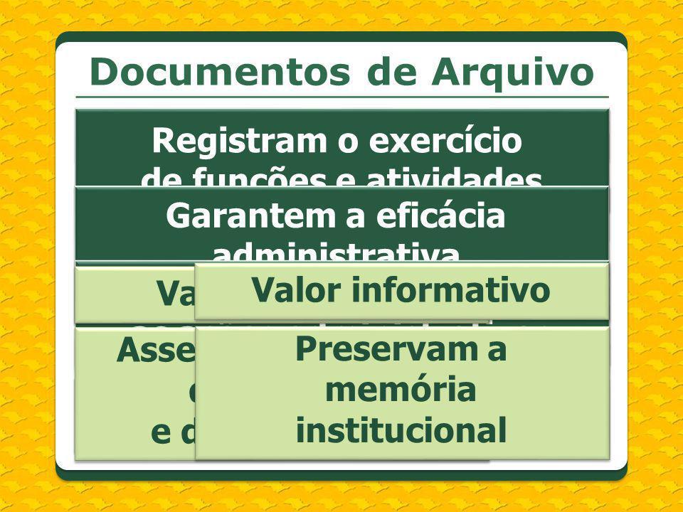 Documentos de Arquivo Registram o exercício de funções e atividades Garantem a eficácia administrativa e jurídica dos atos Subsidiam e comprovam as aç