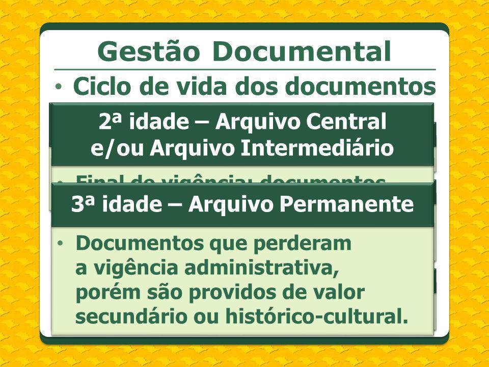 Gestão Documental Ciclo de vida dos documentos 2ª idade – Arquivo Central e/ou Arquivo Intermediário Final de vigência; documentos que aguardam prazos