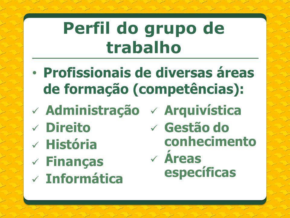 Profissionais de diversas áreas de formação (competências): Perfil do grupo de trabalho Administração Direito História Finanças Informática Arquivísti