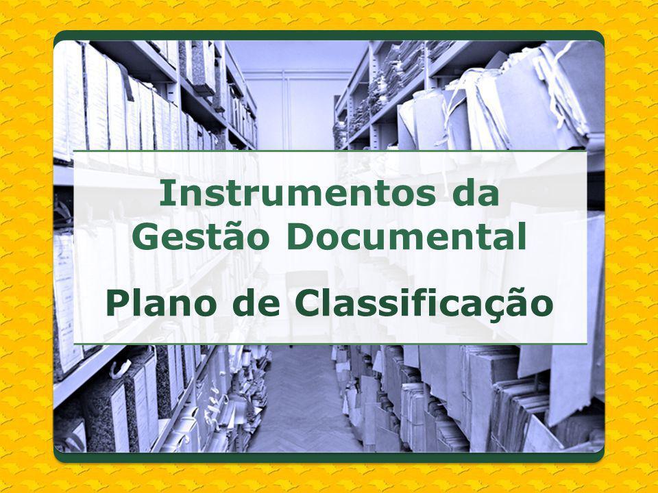 Instrumentos da Gestão Documental Plano de Classificação