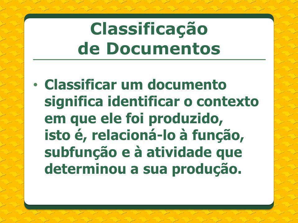 Classificar um documento significa identificar o contexto em que ele foi produzido, isto é, relacioná-lo à função, subfunção e à atividade que determi