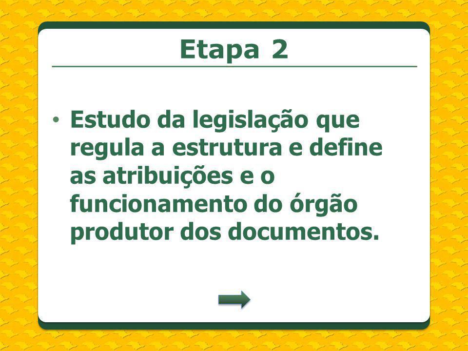 Estudo da legislação que regula a estrutura e define as atribuições e o funcionamento do órgão produtor dos documentos. Etapa 2