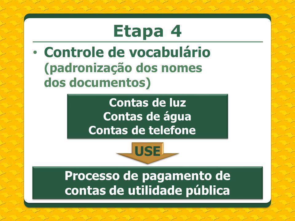 Controle de vocabulário (padronização dos nomes dos documentos) Etapa 4 Contas de luz Contas de água Contas de telefone Processo de pagamento de conta