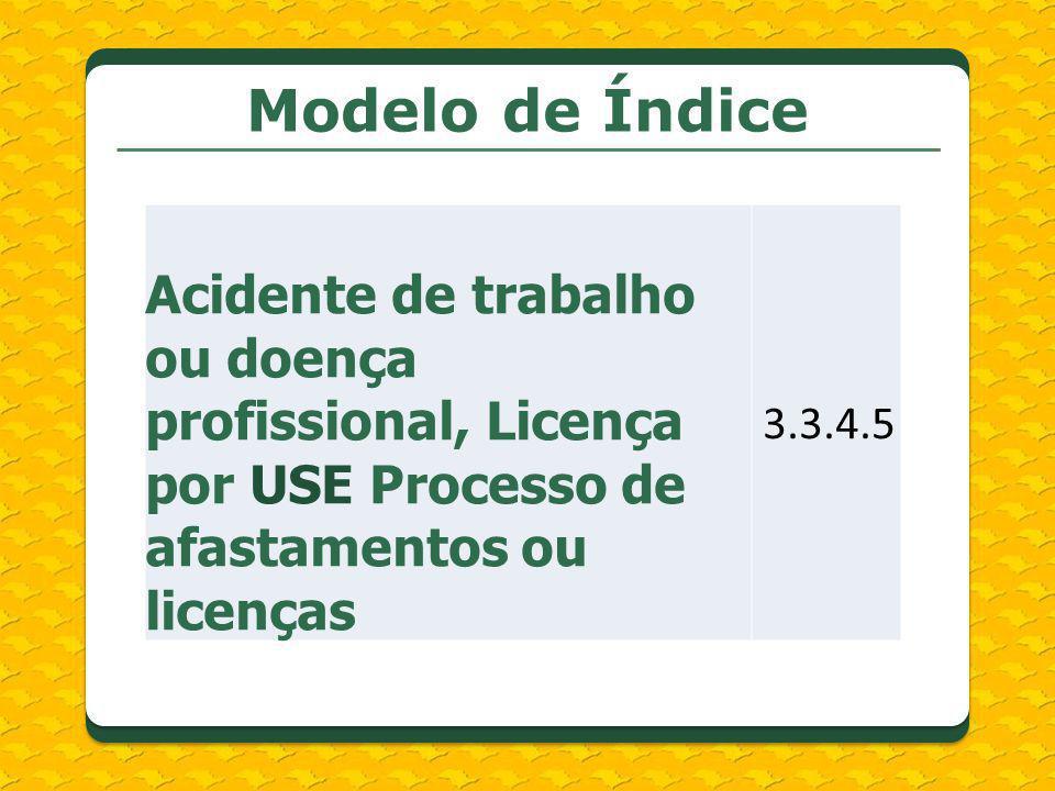 Modelo de Índice Acidente de trabalho ou doença profissional, Licença por USE Processo de afastamentos ou licenças 3.3.4.5