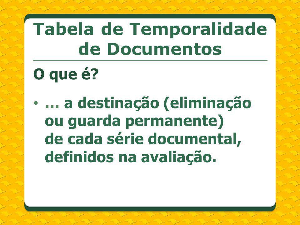Tabela de Temporalidade de Documentos O que é? … a destinação (eliminação ou guarda permanente) de cada série documental, definidos na avaliação.