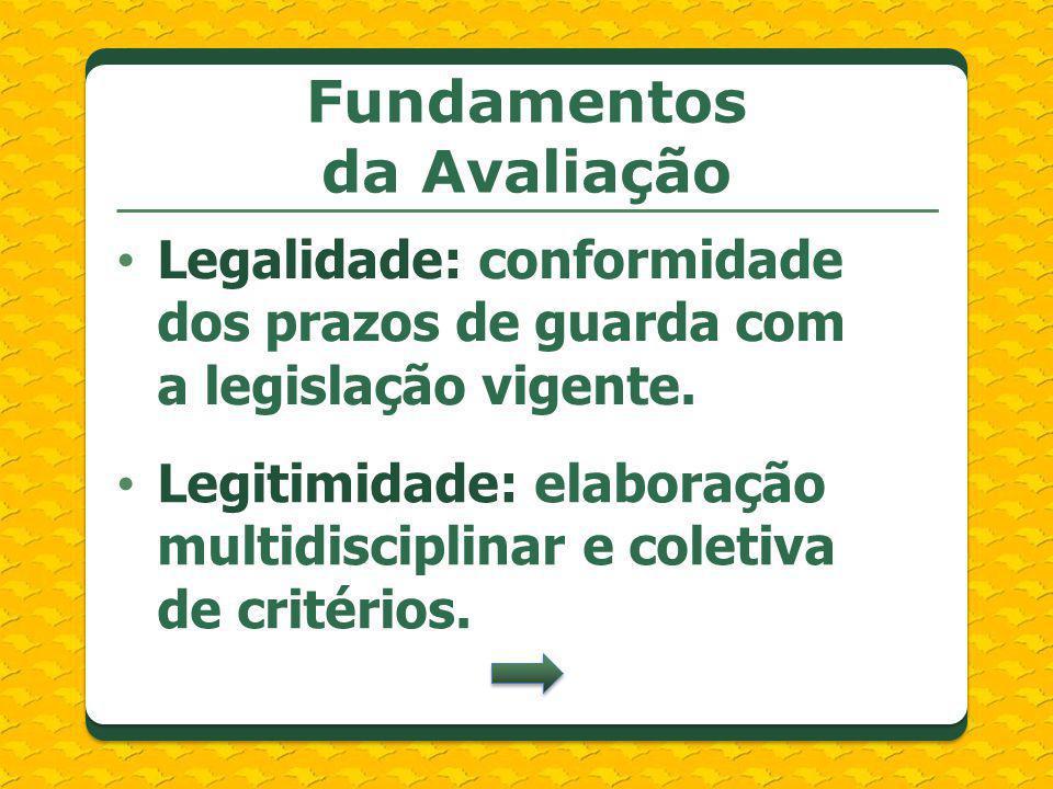 Legalidade: conformidade dos prazos de guarda com a legislação vigente. Fundamentos da Avaliação Legitimidade: elaboração multidisciplinar e coletiva