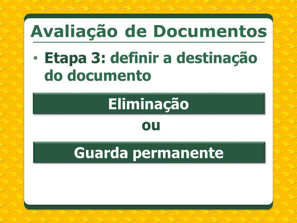 Etapa 3: definir a destinação do documento Avaliação de Documentos Eliminação Guarda permanente ou