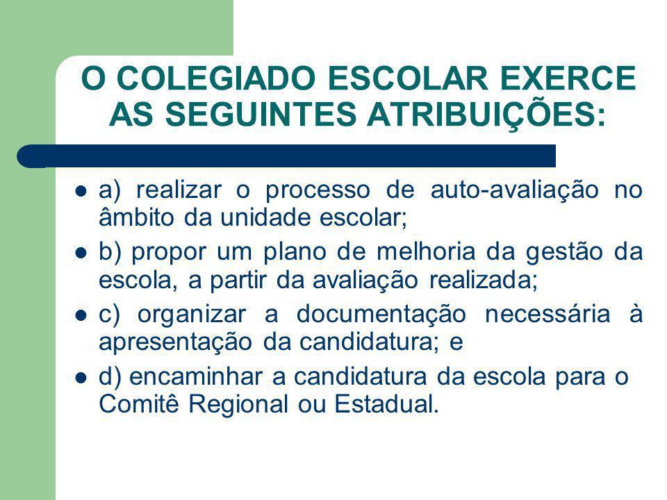 O COLEGIADO ESCOLAR EXERCE AS SEGUINTES ATRIBUIÇÕES: a) realizar o processo de auto-avaliação no âmbito da unidade escolar; b) propor um plano de melh