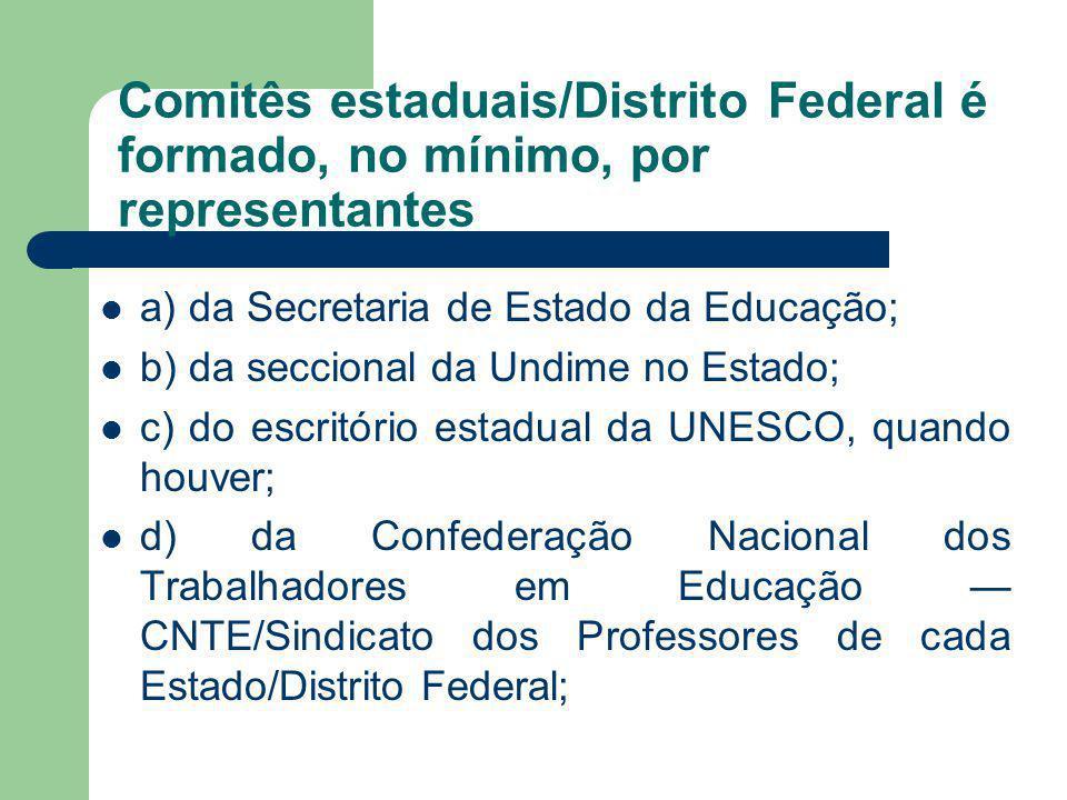 Comitês estaduais/Distrito Federal é formado, no mínimo, por representantes a) da Secretaria de Estado da Educação; b) da seccional da Undime no Estad