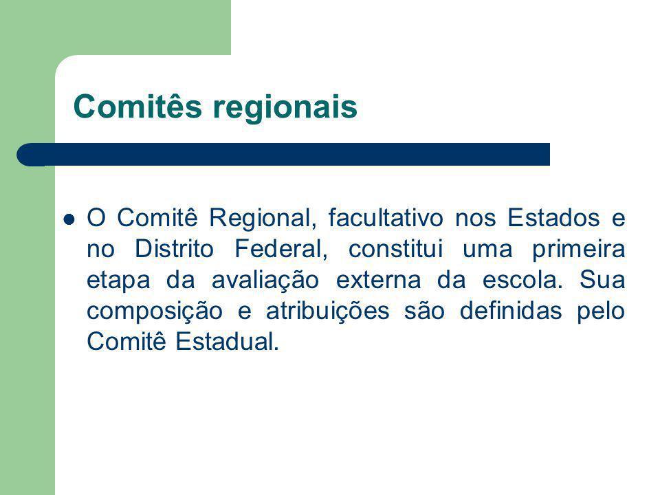 Comitês regionais O Comitê Regional, facultativo nos Estados e no Distrito Federal, constitui uma primeira etapa da avaliação externa da escola. Sua c