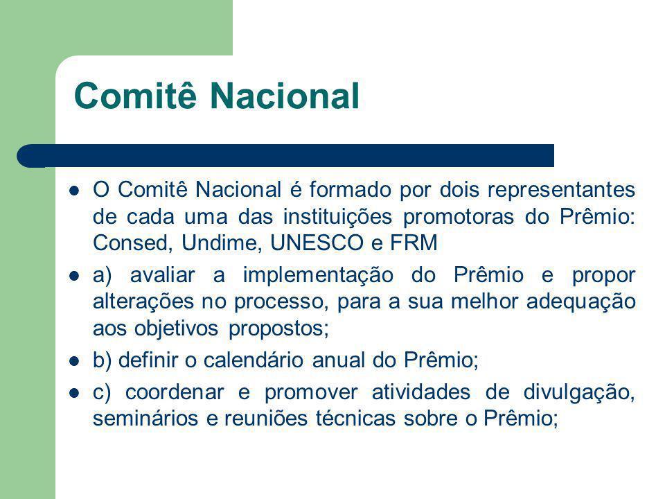 Comitê Nacional O Comitê Nacional é formado por dois representantes de cada uma das instituições promotoras do Prêmio: Consed, Undime, UNESCO e FRM a)