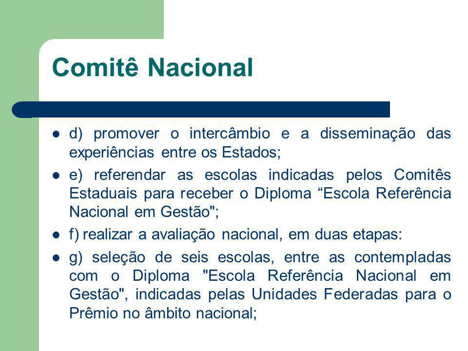 d) promover o intercâmbio e a disseminação das experiências entre os Estados; e) referendar as escolas indicadas pelos Comitês Estaduais para receber