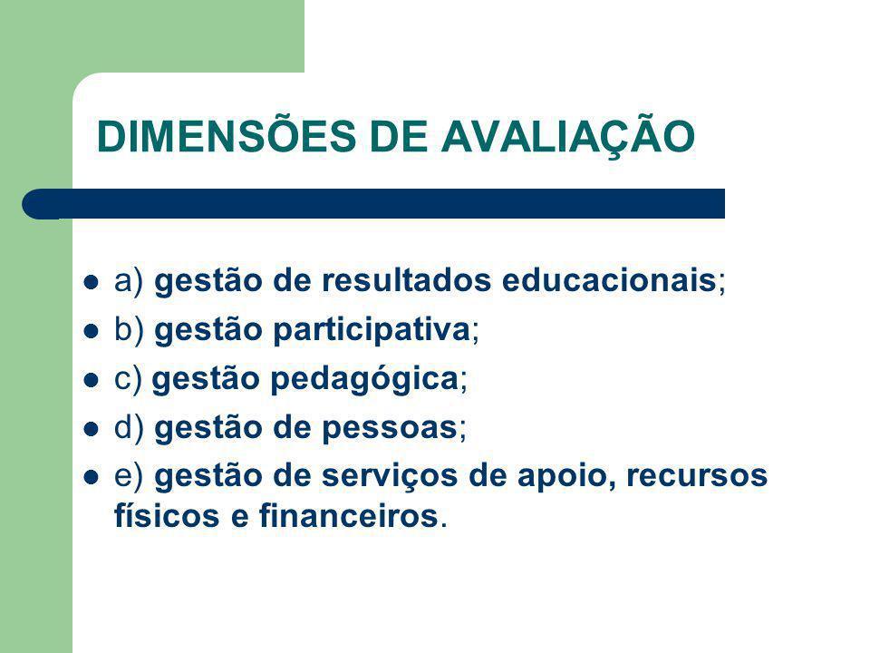 DIMENSÕES DE AVALIAÇÃO a) gestão de resultados educacionais; b) gestão participativa; c) gestão pedagógica; d) gestão de pessoas; e) gestão de serviço