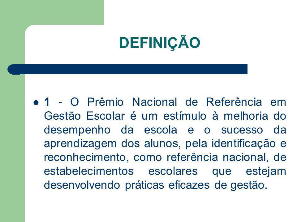 DEFINIÇÃO 1 - O Prêmio Nacional de Referência em Gestão Escolar é um estímulo à melhoria do desempenho da escola e o sucesso da aprendizagem dos aluno