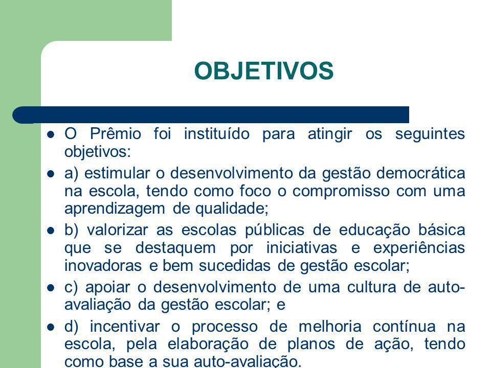 OBJETIVOS O Prêmio foi instituído para atingir os seguintes objetivos: a) estimular o desenvolvimento da gestão democrática na escola, tendo como foco